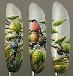 Artist paints on swan feathers